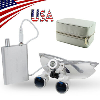 Dental Binocular Surgical Loupes 3.5-2.5x420mm Optical Glass Light Lamp Case