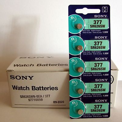5 NEW SONY 377 SR626SW SR66 V377 watch battery EXP 2020 - JAPAN - USA Seller