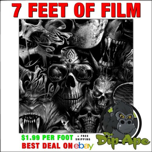 HYDROGRAPHIC FILM SKULLS HELLIONS  7 feet of film hydro dip dipping DIP APE