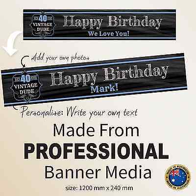 40th Birthday Personalised Canvas Banner Party Decorations Supplies Vintage  - Vintage 40th Birthday Decorations