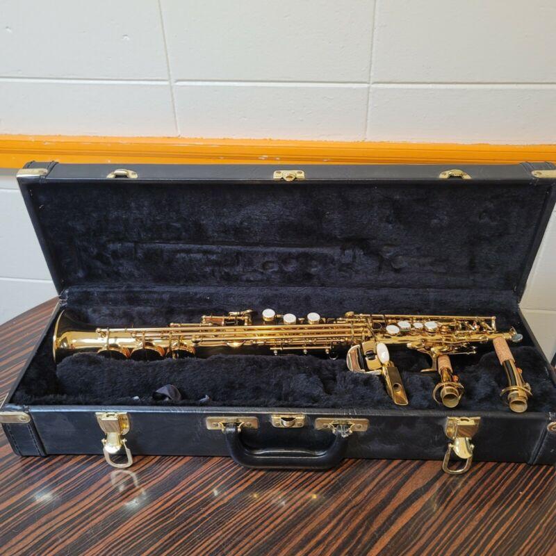 Lazer Straight Soprano Saxophone 870755 w/ Hard Case Accessories Brass