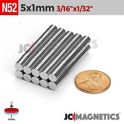 25 100 1000pcs 5mm X 1mm 316x132 N52 Rare Earth Neodymium Small Magnet Disc