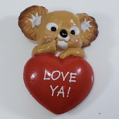 💕 Vintage 1986  Hallmark Holiday Plastic Pins  Valentine Koala Heart Love YA