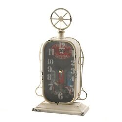 GAS STATION TABLETOP CLOCK - 7 1/4 x 13 HIGH - IRON GLASS - MULTI COLOR
