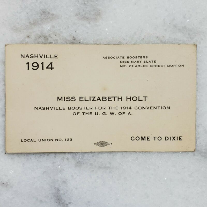 Nashville 1914 Convention Garment Workers of America Union 133 Business Card