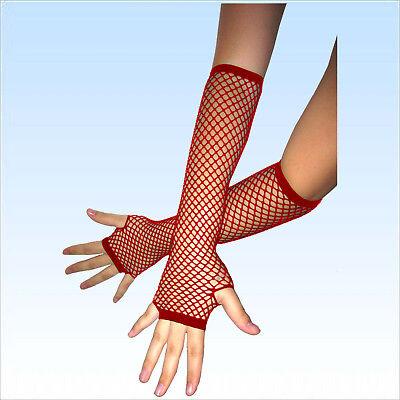 Fingerlose Netzhandschuhe ROT Abendgarderobe Netz Handschuhe Handschuh