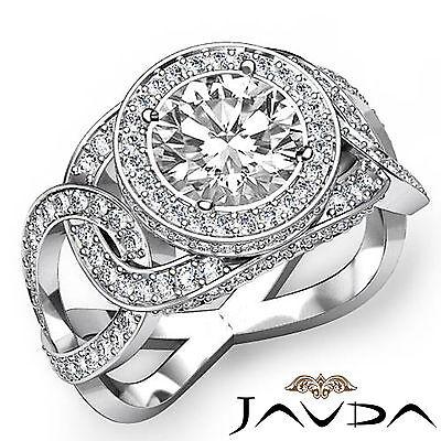 Infinity Twist Shank Halo Round Diamond Pave Set Engagement Ring GIA H SI1 2.3Ct