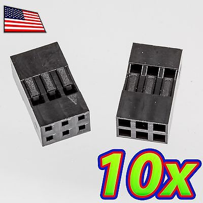 10x Dupont Wire Jumper Pin Header Connector Housing - 2x3 - Male Female