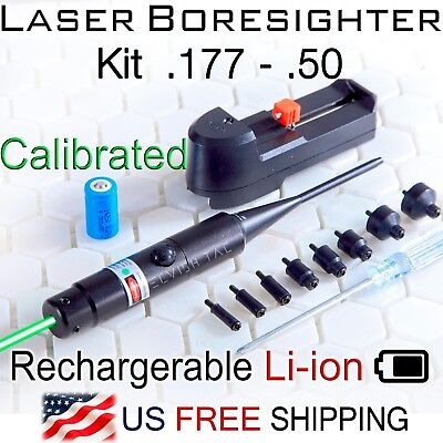 GREEN Laser Boresighter Kit .177-.50 Caliber Li-ion Battery Charger Bore sighter