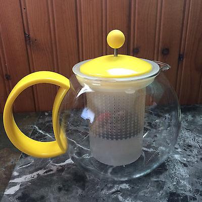 Bodum Assam Tea Press Infuser Teapot Yellow Lid Handle Clear Glass
