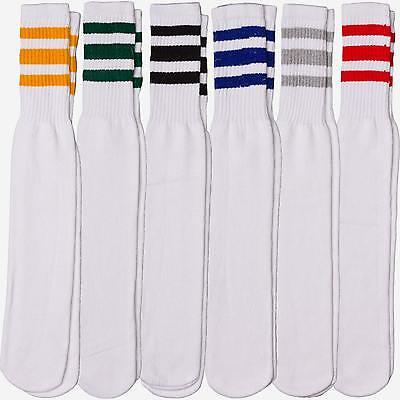 12 Pairs 1 Dozen Unisex Crew Retro Old School White Tube Socks Striped