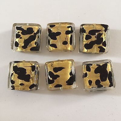Six black and gold 16mm  Murano glass square beads