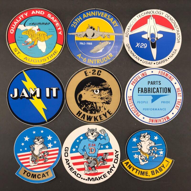 Lot of 9 Vintage Grumman Aviation Sticker Assortment (#02)