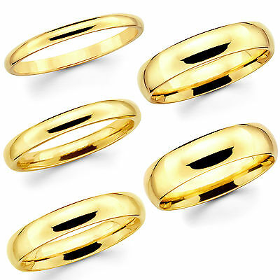 Solid 14K Yellow Gold 2mm 3mm 4mm 5mm 6mm Comfort Fit MenWomen Wedding Band (6 Mm 14k Band)