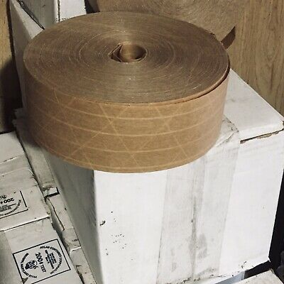 2 Rolls Reinforced Kraft Paper Gummed Tape Water Activated Brown Packing 2.5x600
