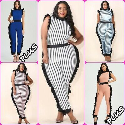 Plus Size Sexy Striped Textured Ruffle Side Jumpsuit - Sexy Plus Size Jumpsuits