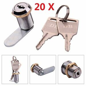 20x Cam Lock 16mm Locker Post MailBox Filing Cabinet Drawer Cupboard With 2 Keys