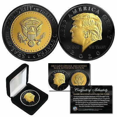 DONALD TRUMP '20 Keep America Great BLACK RUTHENIUM 24K GOLD Medallion Coin wBOX
