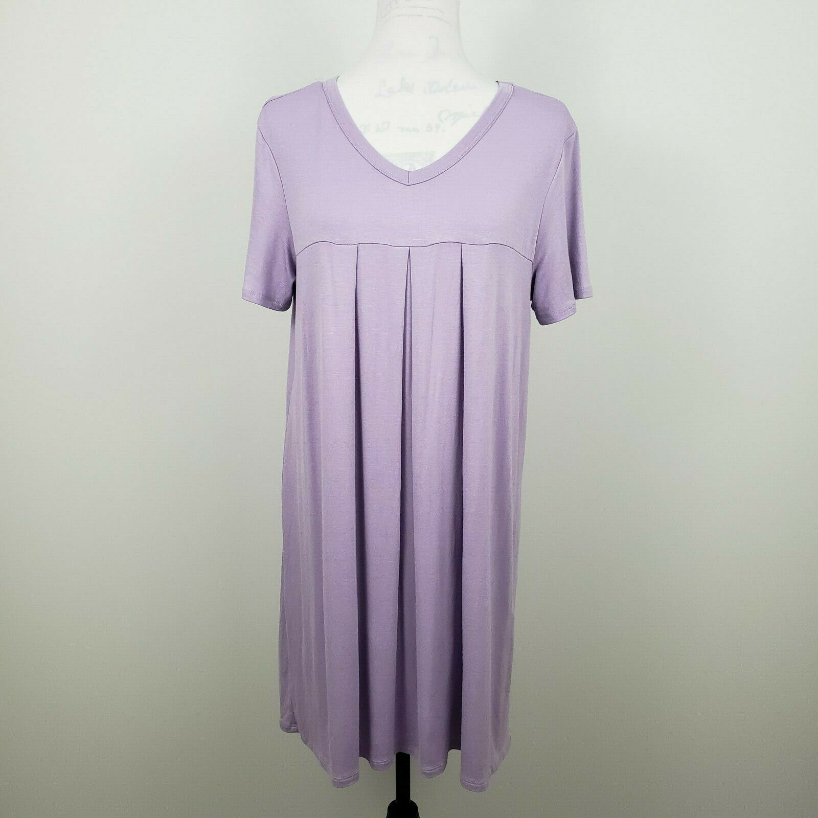 Made by Johnny Pleated Tunic Top Womens XL Lavender Short Sl