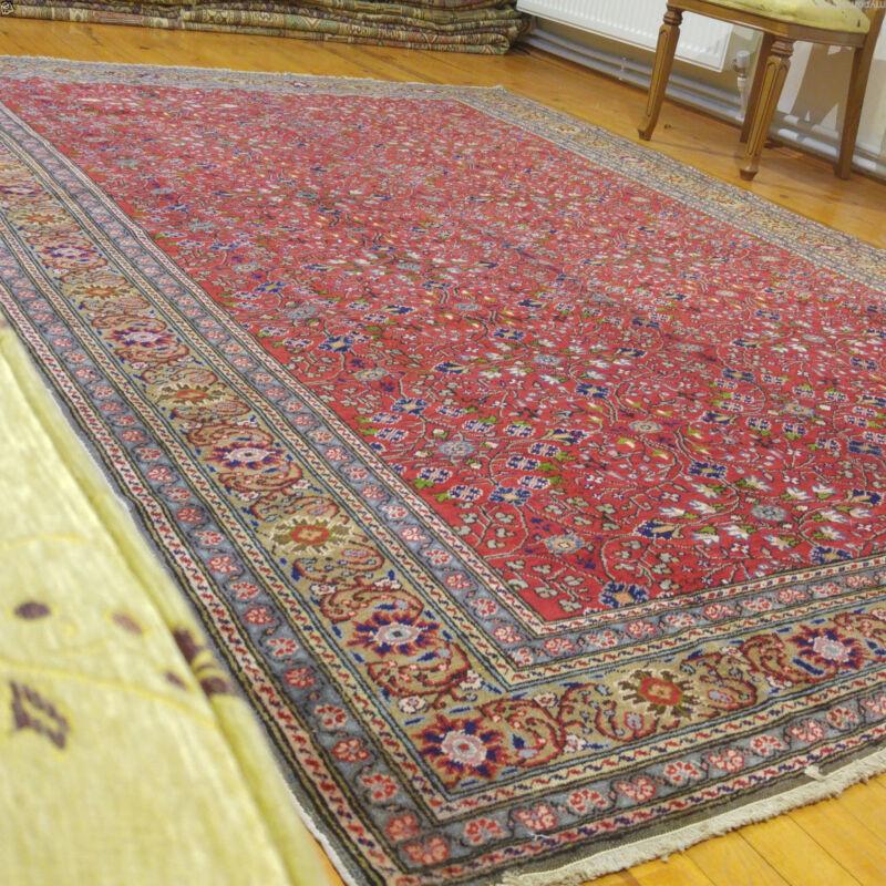 Natural Red Dyes Ca1900-1939s Antique 7x10ft Turkish Wool Pile Hereke Rug
