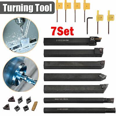 7 Pcsset 10mm Shank Lathe Turning Tool Holder Boring Bar With Carbide Inserts