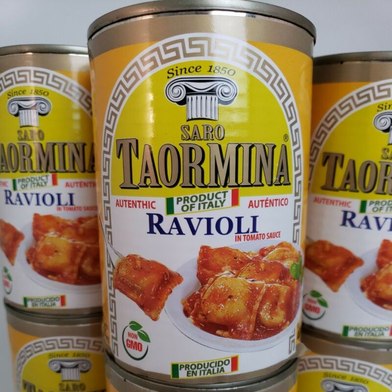 Italian Vegetarian Ravioli Canned Pasta in Sauce (6) Pop Top Cans 14oz Non GMO