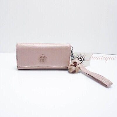 NWT Kipling AC8151 RUBI Snap Long Wallet Wristlet Polyamide Rose Gold Metallic