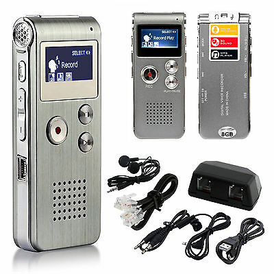 New 8GB USB Rechargeable Digital Sound Voice Recorder Dictaphone MP3 Player