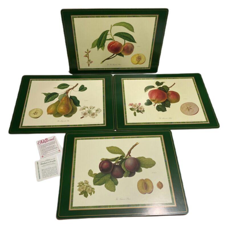 4-Vtg Pimpernel Royal Horticultural Society Cork Placemats Hooker Fruits Flowers
