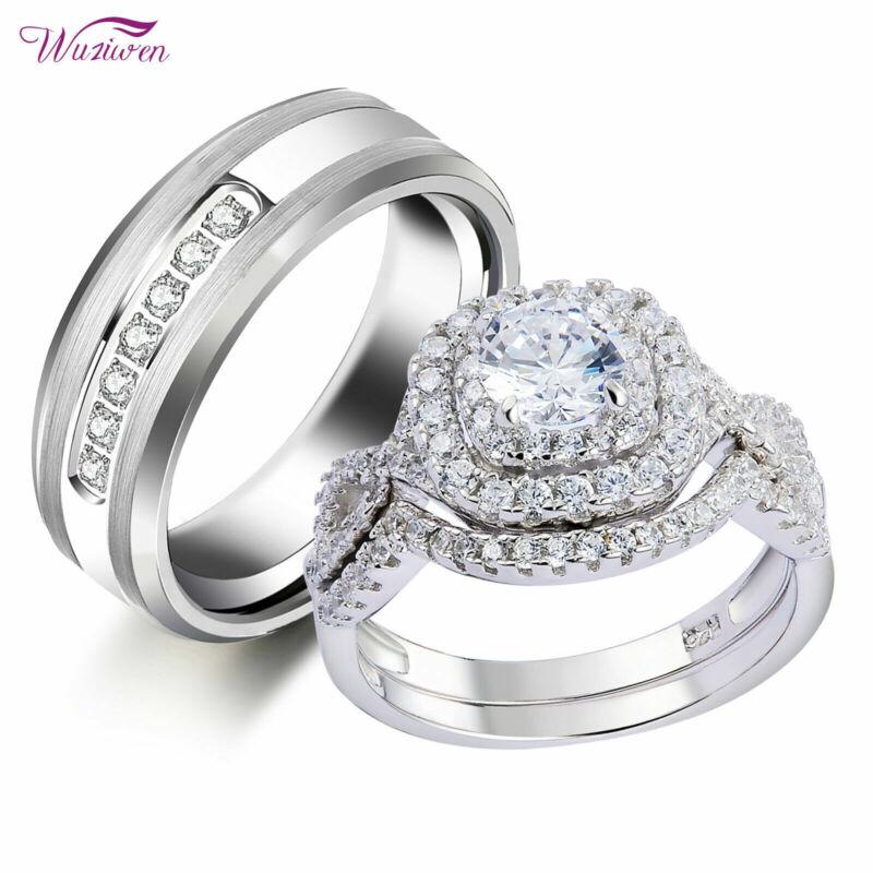 Wuziwen Wedding Engagement Ring Set For Him And Her Women Men Tungsten Bands Cz