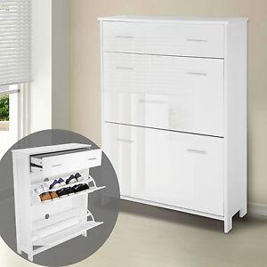 1.08M High Gloss Shoe Cabinet Storage Organiser Drawer 2 Racks Shelf Cupboard