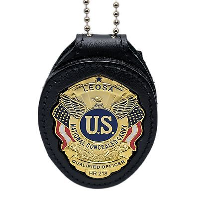 LEOSA Qualified Officer Clip On Belt Neck Chain Leather Police Badge Holder