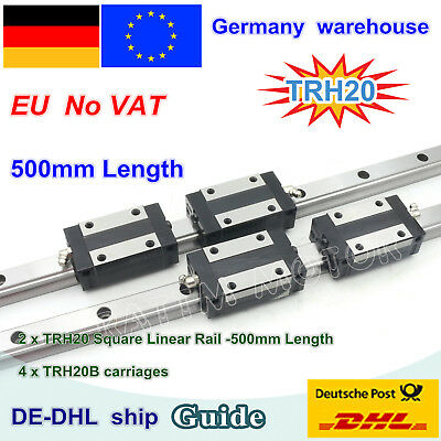 【DE】20mm Square Linear Guide Rail L500mm with TRH20B Carriage Block CNC Router