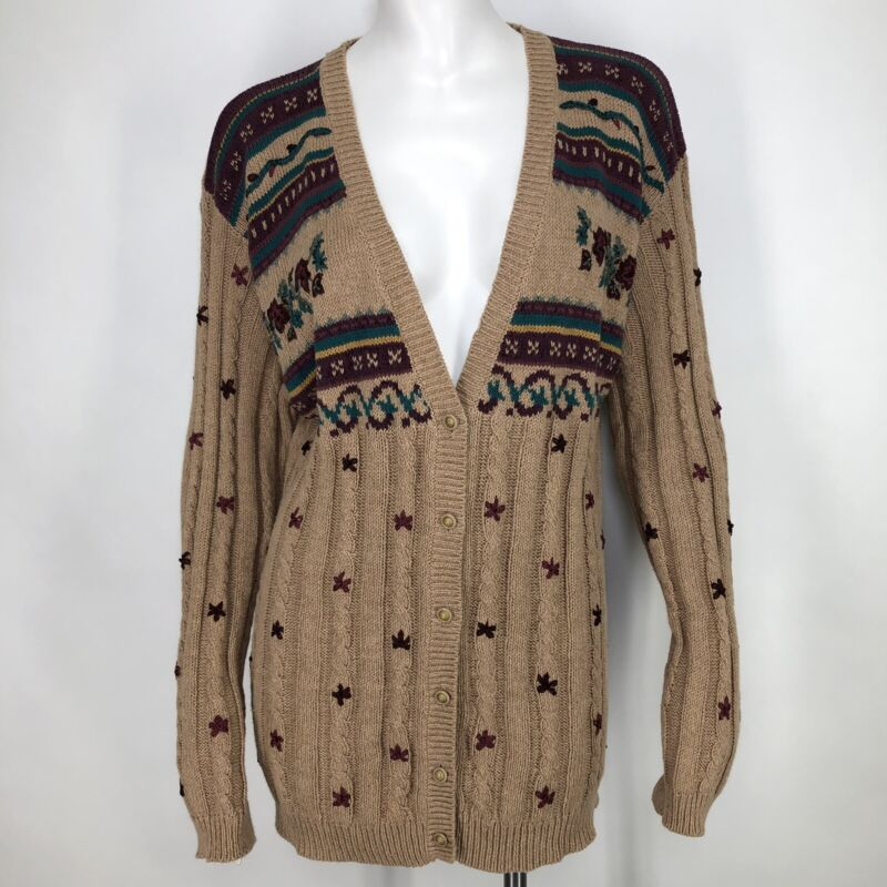 Vintage Jantzen Womens Cardigan Sweater Floral Embroidered Cable Knit Artsy M