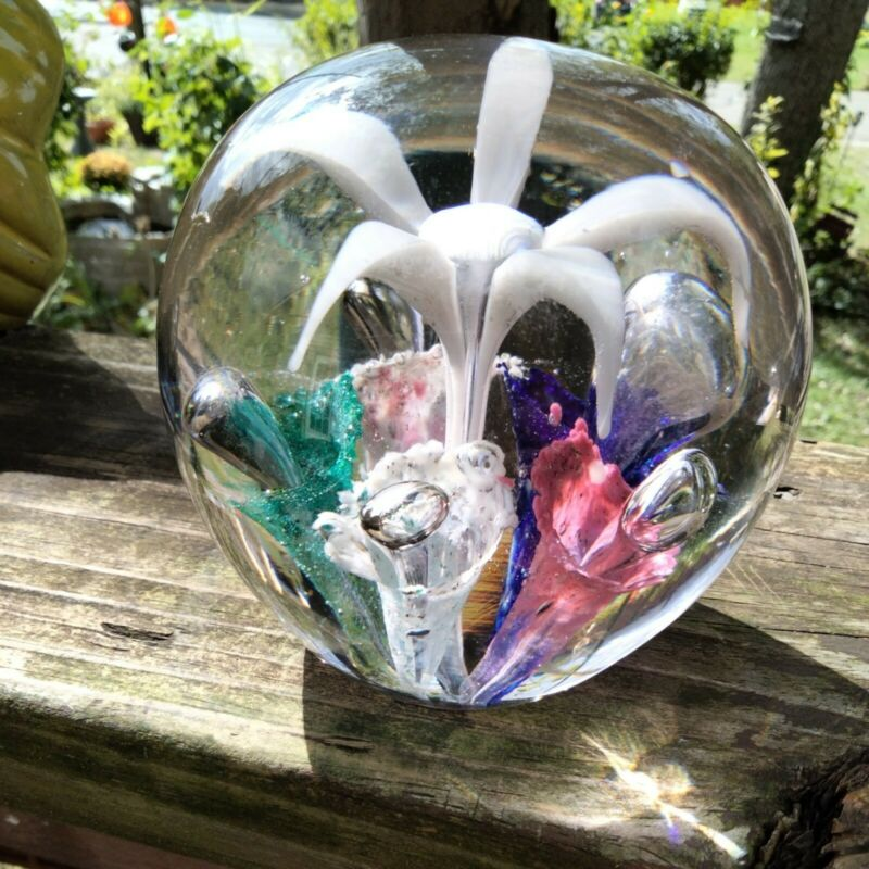 VINTAGE  GLASS Floral  LARGE Paperweight 4x6