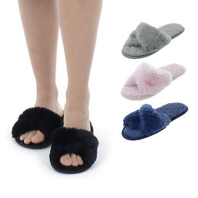 Womens Faux Fur Crossover Open Toe Ladies Fleece Cross Strap Slippers Non Slip