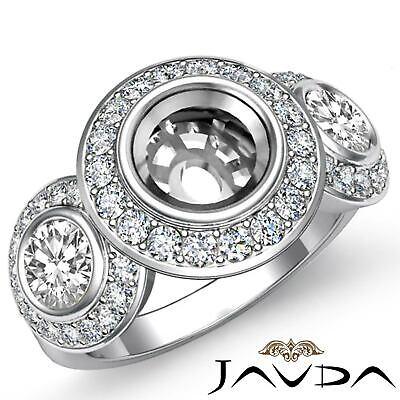 Round Side Diamond 3 Stone Engagement Ring Bezel Setting Semi Mount 1.15Ct Ring Settings Side Stone