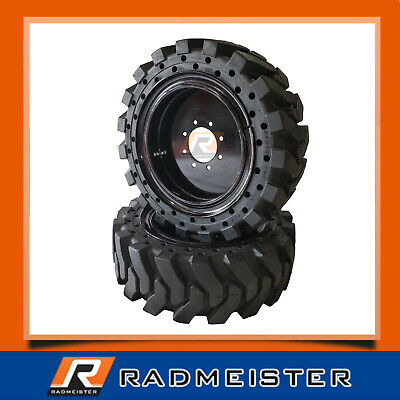 12x16.5 33x12-20 Solid Skid Steer Tires 4x Wrims