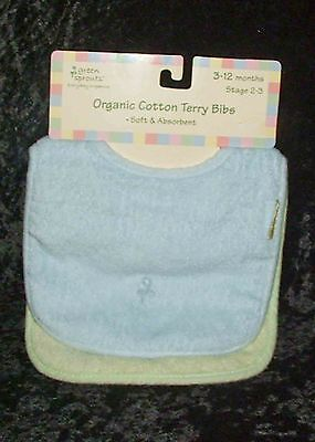 - Green Sprouts Stage 2 Organic Cotton Terry Baby Bibs Set of 2 for 3-6 Months NEW