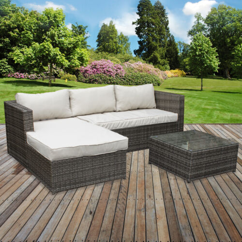Garden Furniture - Rattan Garden Corner Sofa Table Chair Furniture Set Grey Patio Outdoor Seating