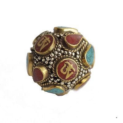Turquoise Coral OM Brass Focal Bead Tibetan Nepalese Handmade Tibet Nepal UB2447