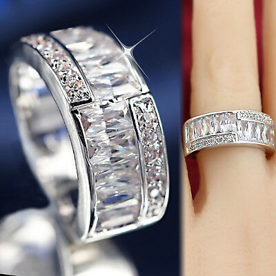 18K WHITE YELLOW GOLD GF WOMENS VINTAGE SQUARE LAB DIAMOND 8MM BAND WEDDING RING (Vintage Wedding Ring White Gold)
