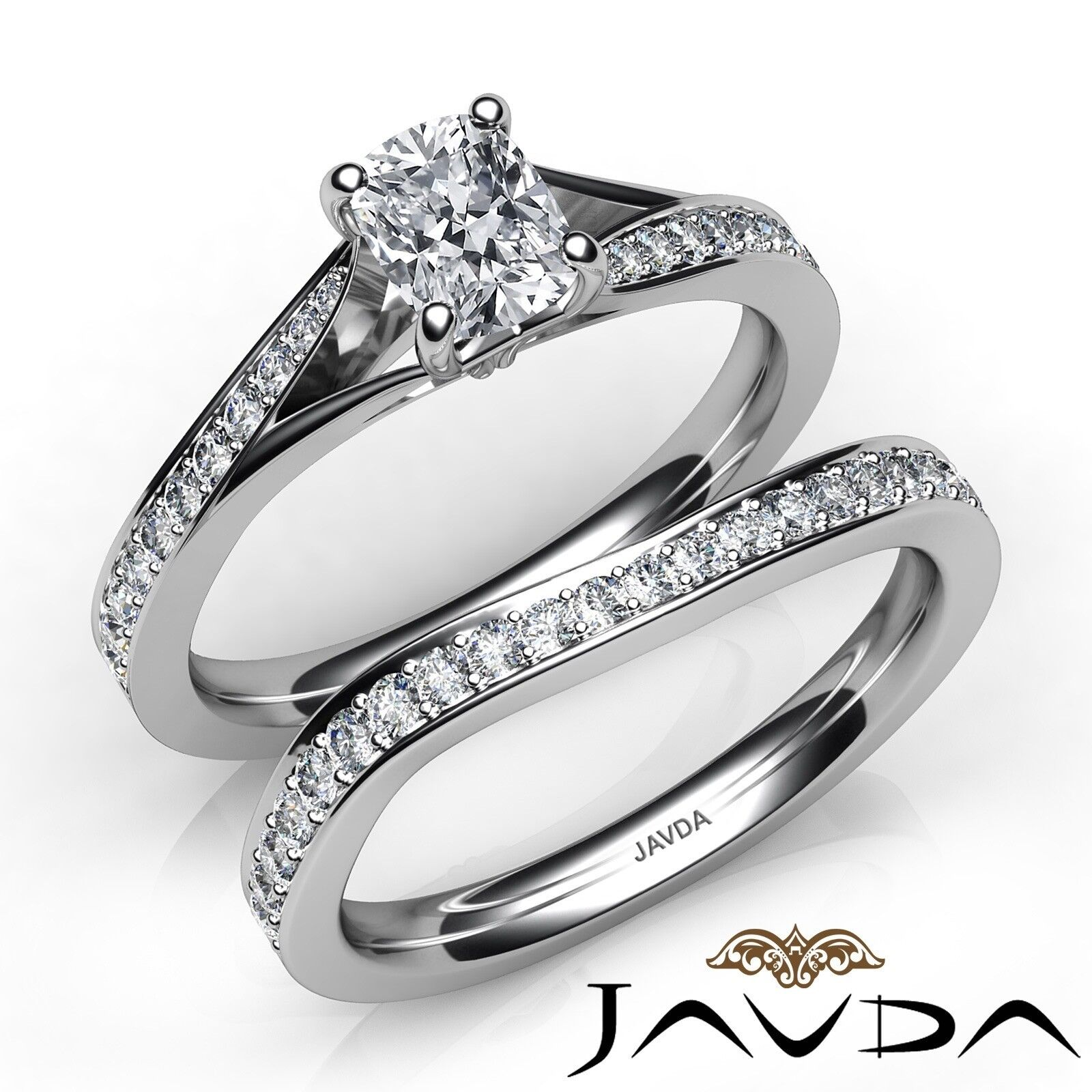 1.5ctw Pave Classic Bridal Cushion Diamond Engagement Ring GIA E-VVS2 White Gold