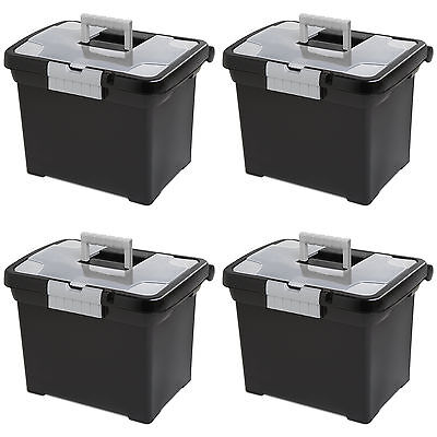 Handle Clear Lid (Sterilite Portable File Box with Handle and Clear Lid (4 Pack) | 18719004 )