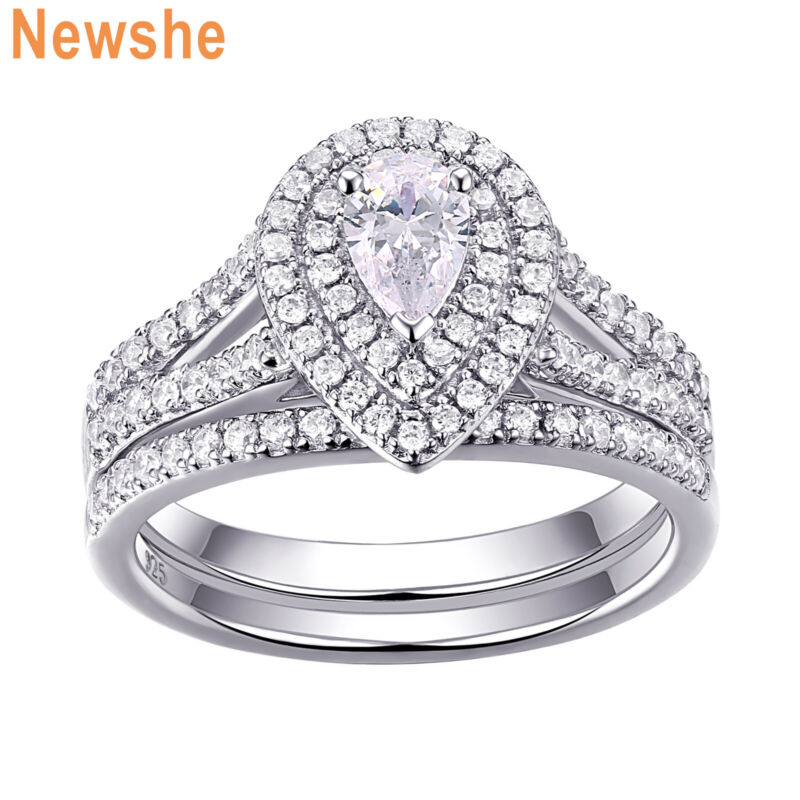 Newshe Wedding Rings For Women Engagement Ring Set Sterling Silver Pear Aaaa Cz