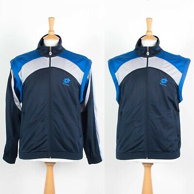 90'S VINTAGE LOTTO TRACKSUIT TOP TRACK JACKET REMOVABLE SLEEVES GILET TENNIS M