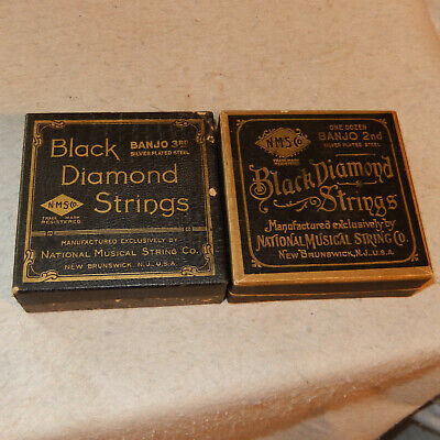 2 Boxes Vintage Black Diamond Banjo Strings 9 3rd Steel 3 2nd Silver Plated