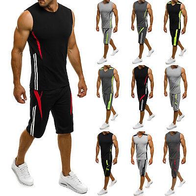 OZONEE Herren Sportanzug Trainingsanzug Shirt Kurzhose Fitness RF/7034 MIX