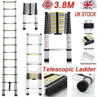 3.8M Multi-Purpose Aluminium Telescopic Ladder Extendable Step Folding MAX 150KG