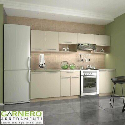 Cucina moderna componibile completa rovere beige NATURAL lineare 260 cm design